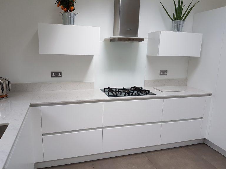 White kitchen with hob
