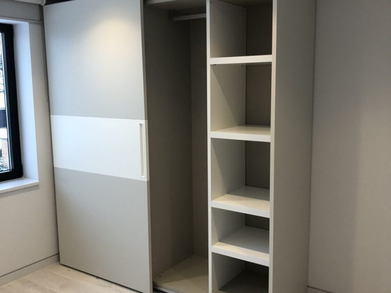 Dall'Agnese Sliding Wardrobe 'Composta' Range. In Matt Lacquer Pearl Grey & Light Cream.