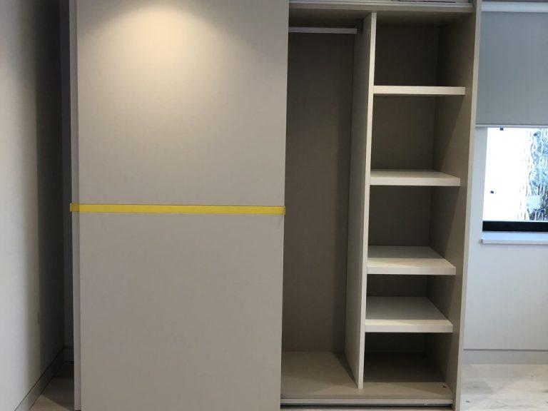 Dall'Agnese Sliding Wardrobe 'Riga' Range. In Matt Lacquer Pearl Grey & Zinc Yellow